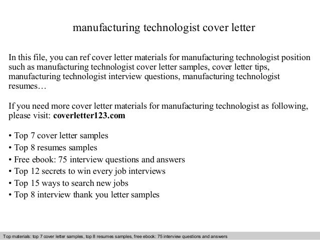 Manufacturing technologist cover letter