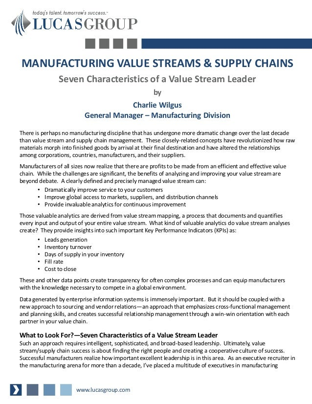 MANUFACTURING VALUE STREAMS & SUPPLY CHAINS                Seven Characteristics of a Value Stream Leader                 ...