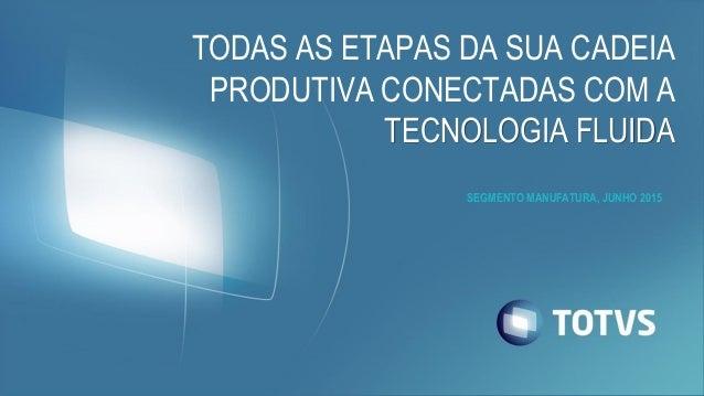 TODAS AS ETAPAS DA SUA CADEIA PRODUTIVA CONECTADAS COM A TECNOLOGIA FLUIDA SEGMENTO MANUFATURA, JUNHO 2015