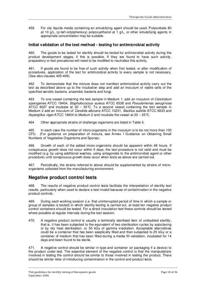 tga guideline for sterility testing