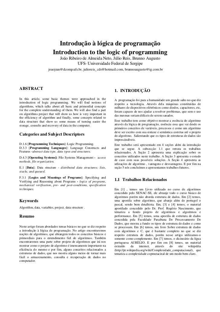 Introdução à lógica de programação                            Introduction to the logic of programming                    ...