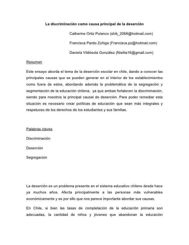 La discriminación como causa principal de la deserción                          Catherine Ortiz Polanco (shik_2068@hotmail...