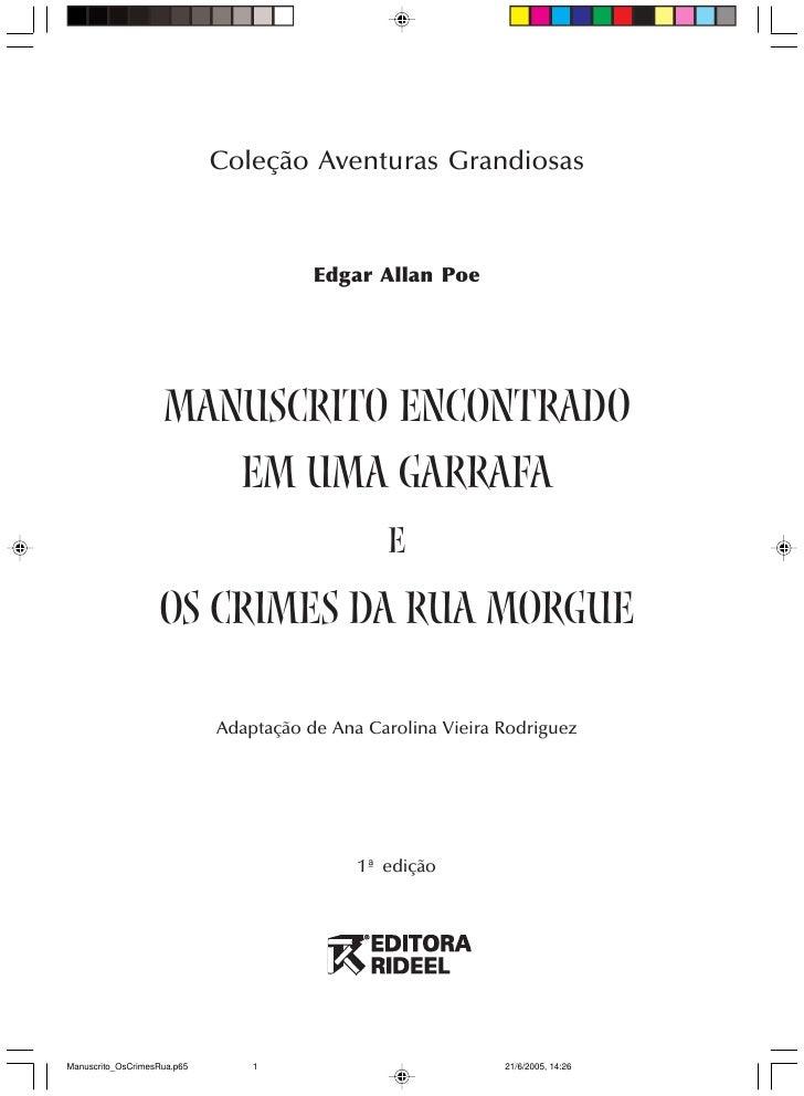 Coleção Aventuras Grandiosas                                        Edgar Allan Poe                    manuscrito encontra...