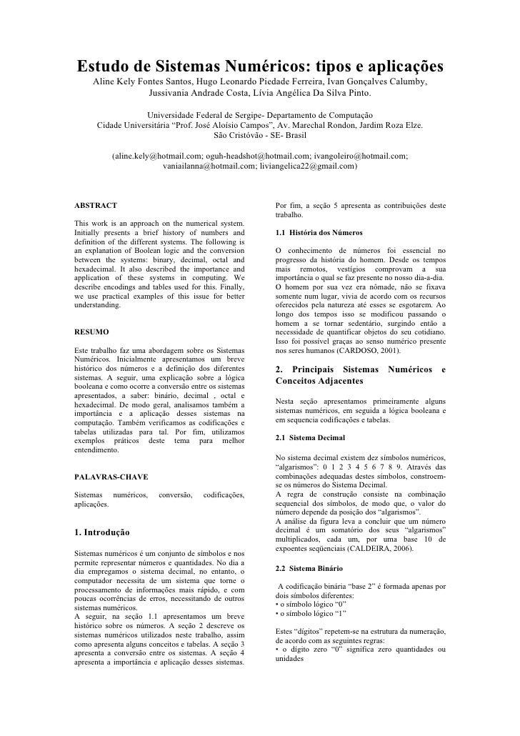 Estudo de Sistemas Numéricos: tipos e aplicações      Aline Kely Fontes Santos, Hugo Leonardo Piedade Ferreira, Ivan Gonça...