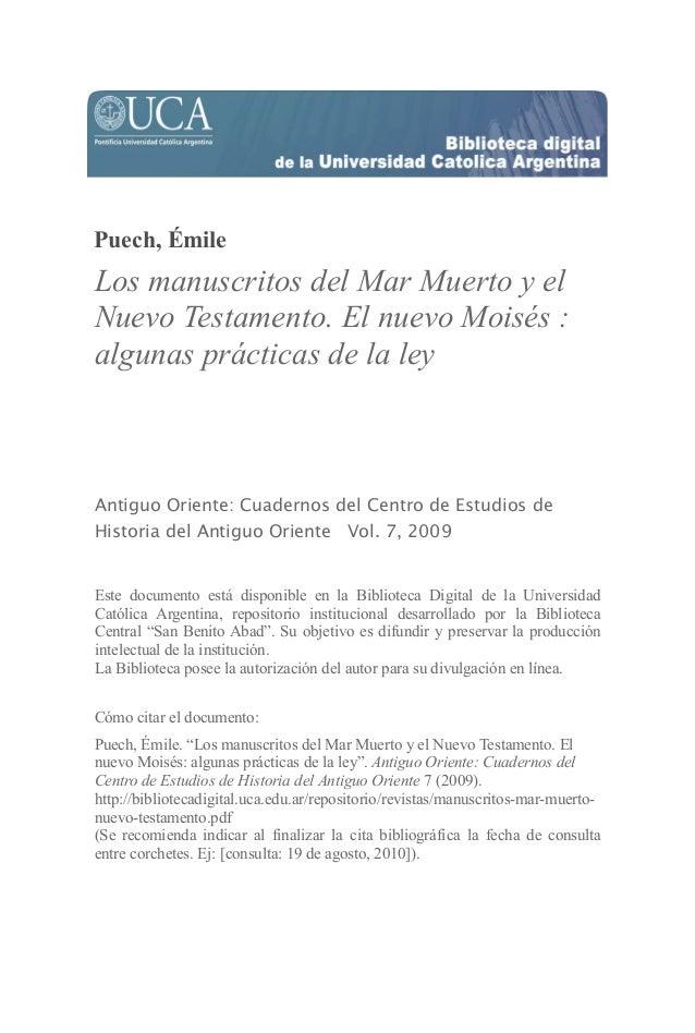 Puech, Émile Los manuscritos del Mar Muerto y el Nuevo Testamento. El nuevo Moisés : algunas prácticas de la ley Antiguo O...