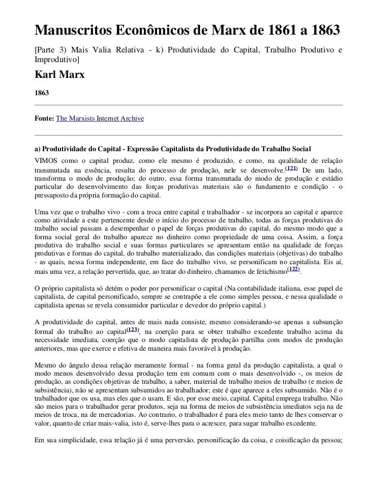 Manuscritos Econômicos de Marx de 1861 a 1863[Parte 3) Mais Valia Relativa - k) Produtividade do Capital, Trabalho Produti...
