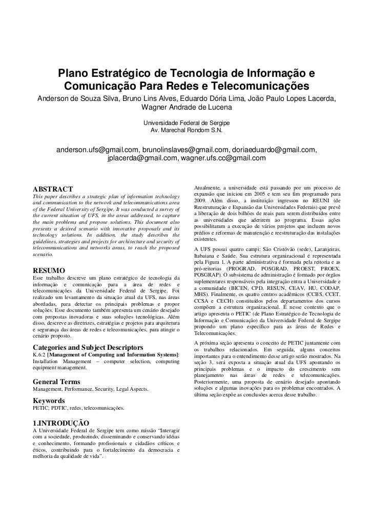 Plano Estratégico de Tecnologia de Informação e              Comunicação Para Redes e Telecomunicações   Anderson de Souza...