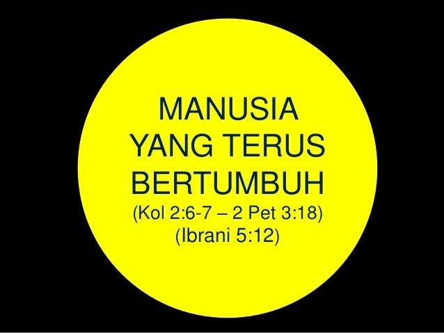 MANUSIA YANG TERUS BERTUMBUH (Kol 2:6-7 – 2 Pet 3:18) (Ibrani 5:12)