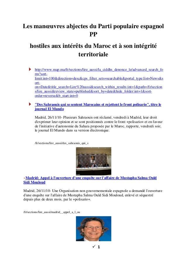 ü 1 Les manœuvres abjectes du Parti populaire espagnol PP hostiles aux intérêts du Maroc et à son intégrité territoriale h...