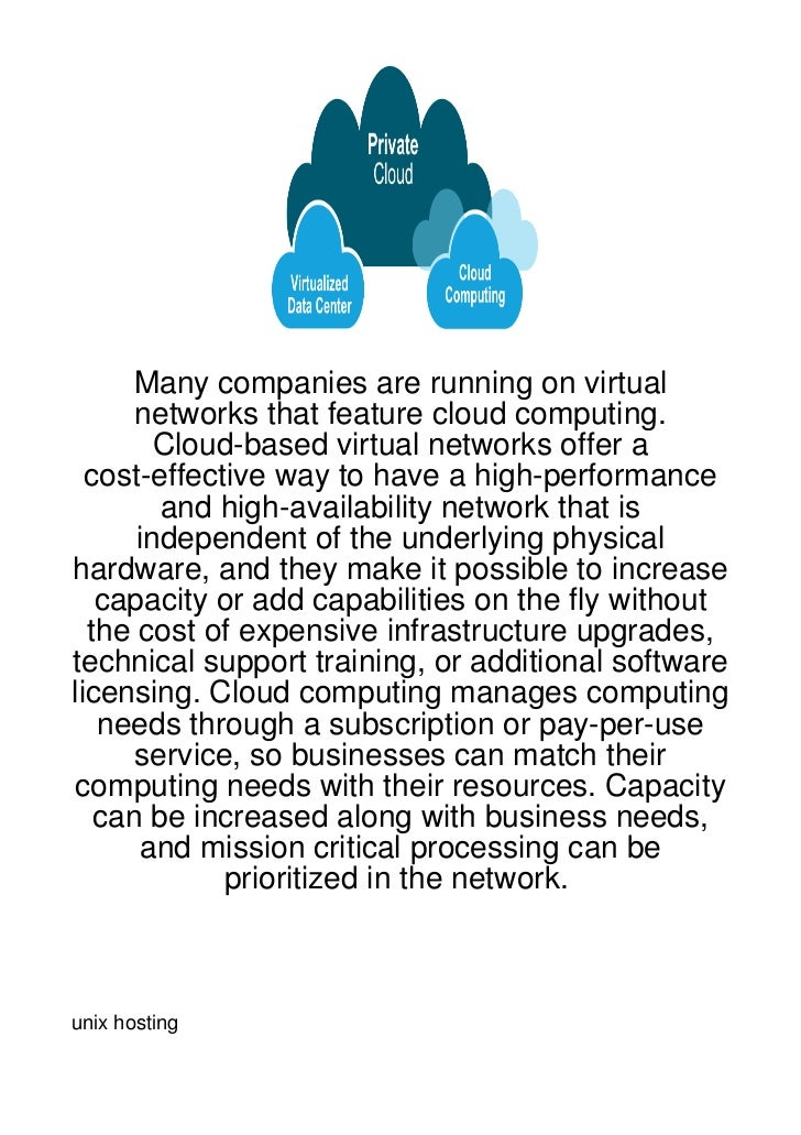 Many companies are running on virtual      networks that feature cloud computing.        Cloud-based virtual networks offe...