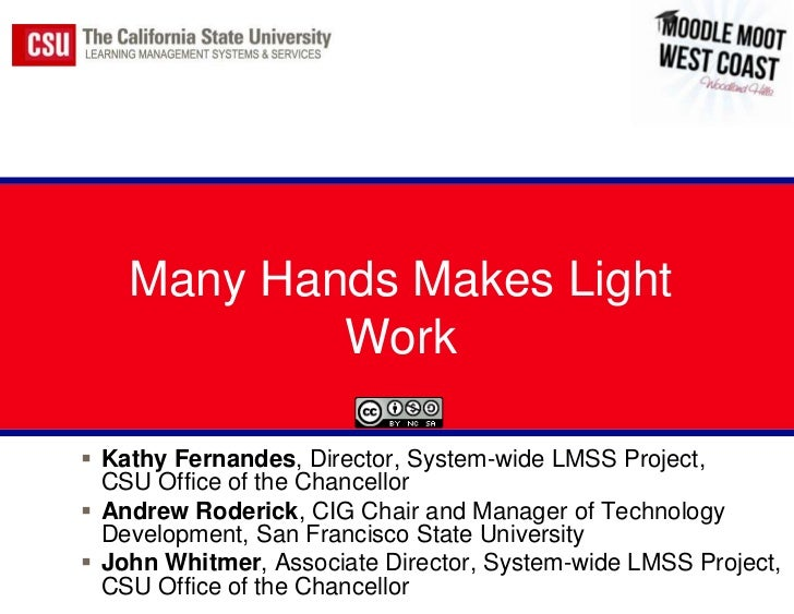 Many Hands Makes Light            Work Kathy Fernandes, Director, System-wide LMSS Project,  CSU Office of the Chancellor...