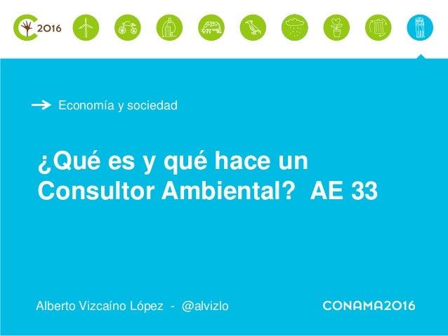 Economía y sociedad ¿Qué es y qué hace un Consultor Ambiental? AE 33 Alberto Vizcaíno López - @alvizlo