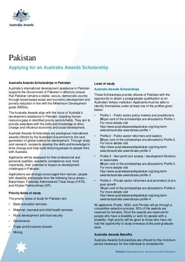 Pakistan Applying for an Australia Awards Scholarship Australia Awards Scholarships in Pakistan  Level of study  Australia...