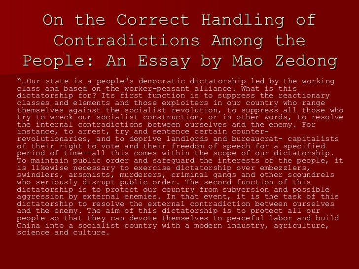maoism in china essay Sample essay cheung man ying f5d (6) compare and contrast mao zedong and deng xiaoping as the leaders of the people's republic of china.