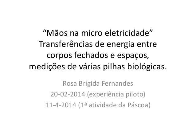 """""""Mãos na micro eletricidade"""" Transferências de energia entre corpos fechados e espaços, medições de várias pilhas biológic..."""