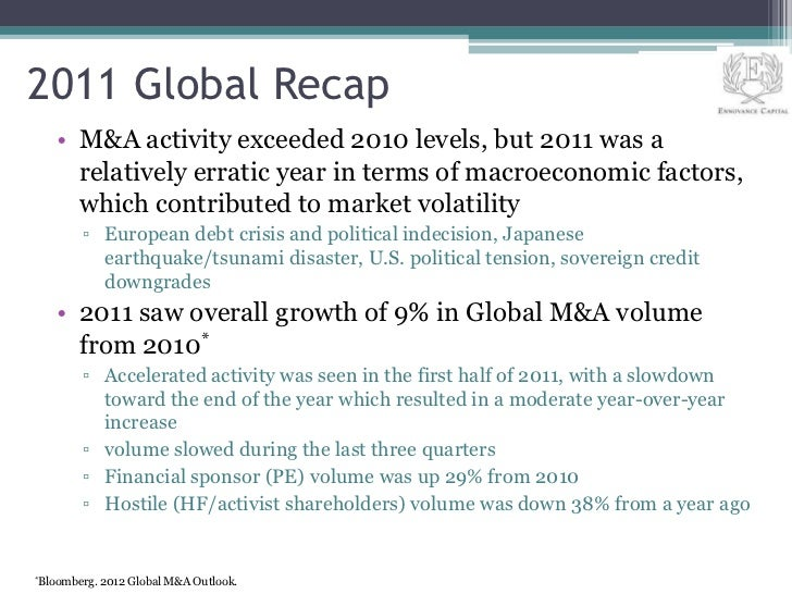 2011 Global Recap    • M&A activity exceeded 2010 levels, but 2011 was a      relatively erratic year in terms of macroeco...