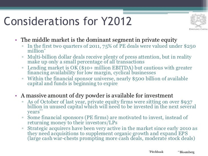 Considerations for Y2012  • The middle market is the dominant segment in private equity    ▫ In the first two quarters of ...