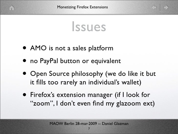 Monetizing Firefox extensions