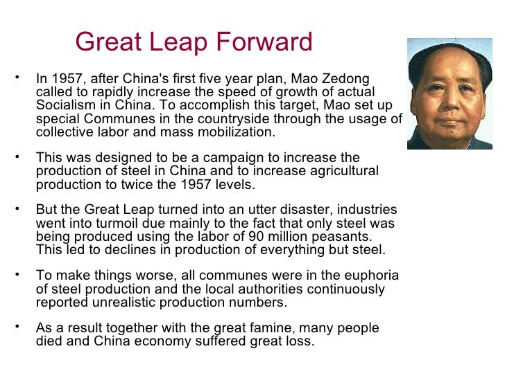 an overview of the great leap forward campaign The great leap forward campaign began during the period of the second five year plan which was scheduled to run from 1958 to 1963, though the campaign itself was discontinued by 1961 [10] [11] mao unveiled the great leap forward at a meeting in january 1958 in nanjing.