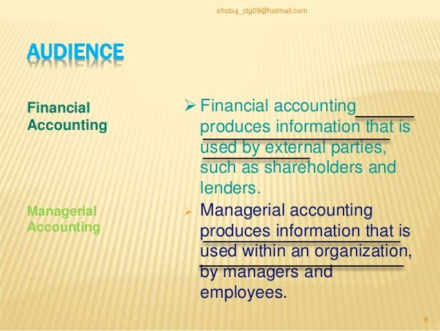 the differences between financial accounting and managerial accounting Learn about external financial statements, internal managerial accounting reports, income tax systems and how they interact in business decision-making.