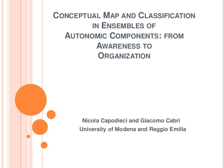 CONCEPTUAL MAP AND CLASSIFICATION        IN ENSEMBLES OF  AUTONOMIC COMPONENTS: FROM         AWARENESS TO          ORGANIZ...