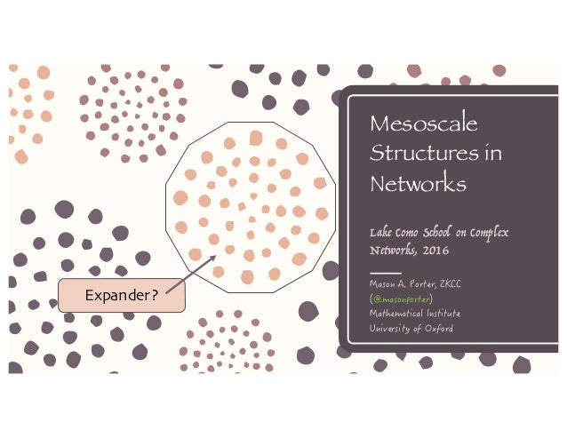 Mesoscale Structures in Networks Lake Como School on Complex Networks, 2016 Expander?