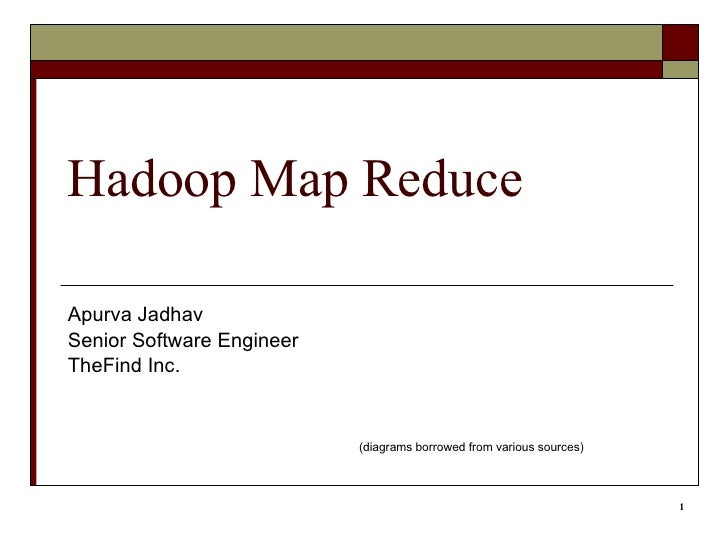 Hadoop Map Reduce Apurva Jadhav Senior Software Engineer TheFind Inc. (diagrams borrowed from various sources)