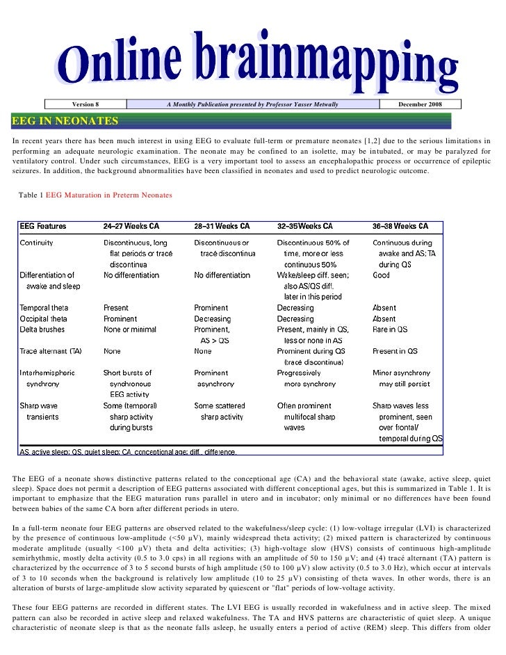 Version 8                   A Monthly Publication presented by Professor Yasser Metwally           December 2008  EEG IN N...
