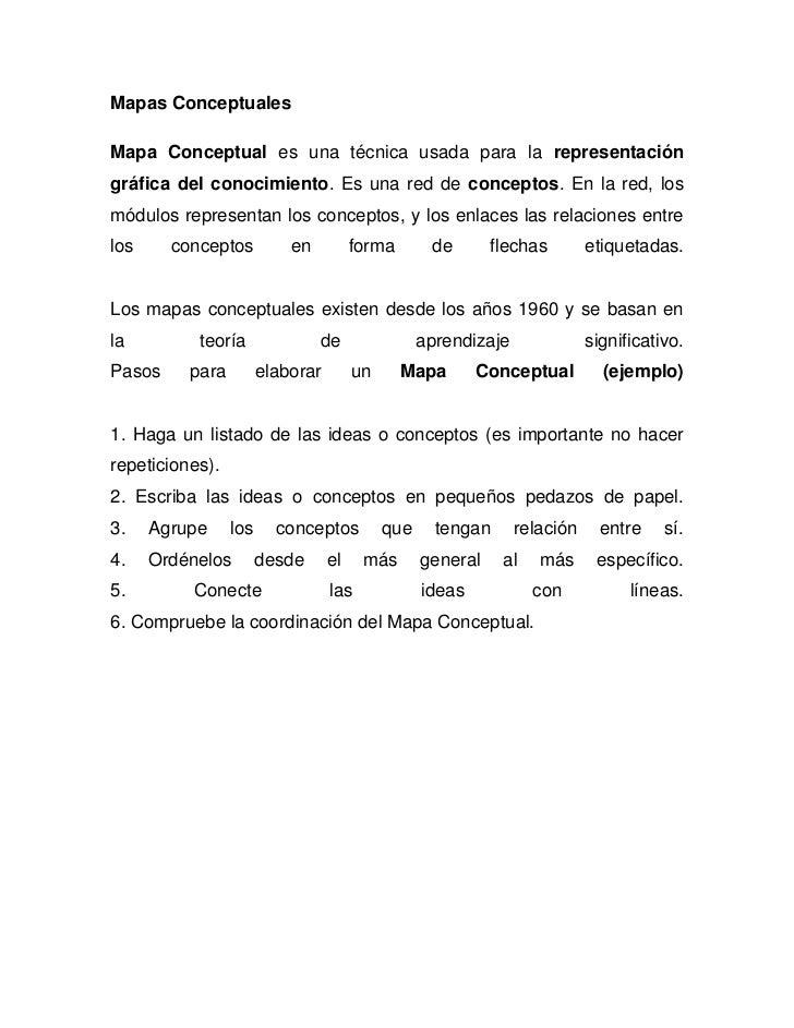 Mapas ConceptualesMapa Conceptual es una técnica usada para la representacióngráfica del conocimiento. Es una red de conce...