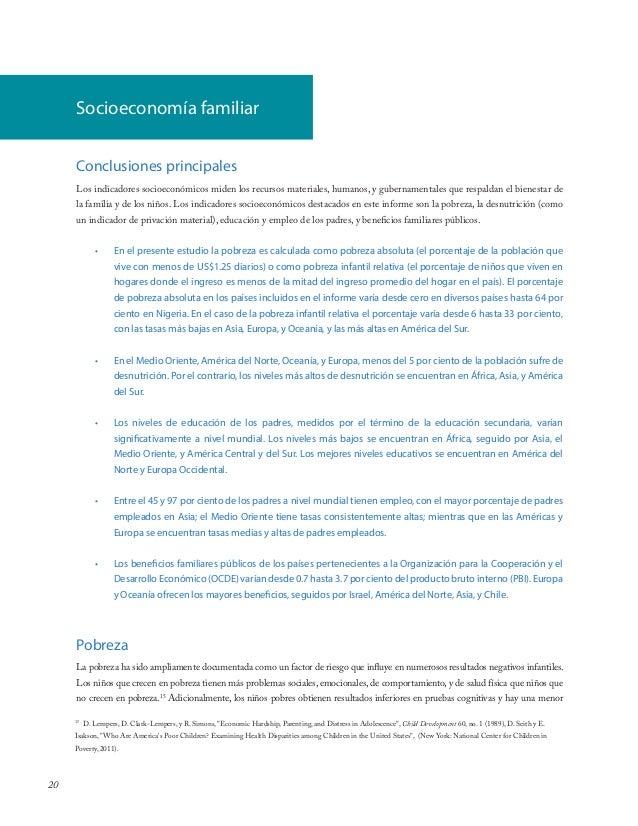 20Conclusiones principalesLos indicadores socioeconómicos miden los recursos materiales, humanos, y gubernamentales que re...