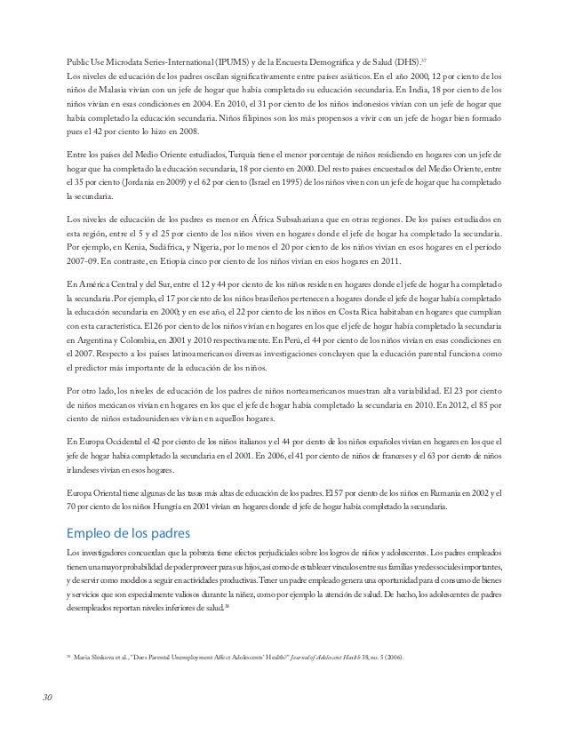30Public Use Microdata Series-International (IPUMS) y de la Encuesta Demográfica y de Salud (DHS).37Los niveles de educaci...