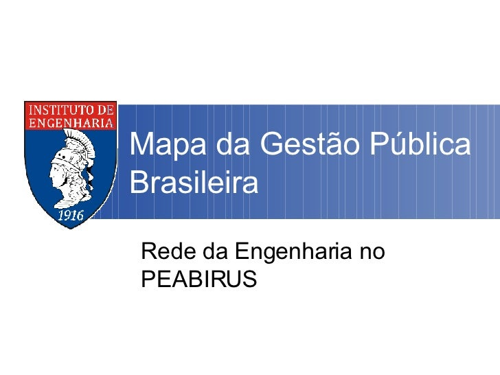 Mapa da Gestão Pública Brasileira Rede da Engenharia no PEABIRUS