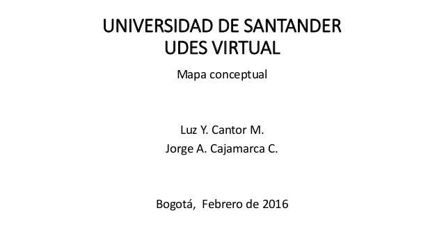 UNIVERSIDAD DE SANTANDER UDES VIRTUAL Mapa conceptual Luz Y. Cantor M. Jorge A. Cajamarca C. Bogotá, Febrero de 2016
