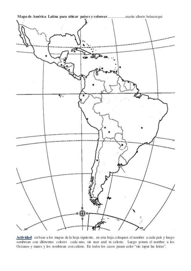 Mapa América Latina para colocar nombres y colorear