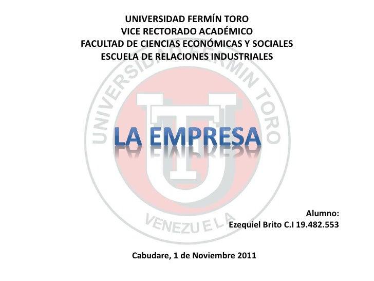 UNIVERSIDAD FERMÍN TORO        VICE RECTORADO ACADÉMICOFACULTAD DE CIENCIAS ECONÓMICAS Y SOCIALES    ESCUELA DE RELACIONES...