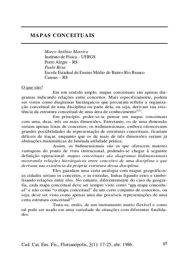 Cad. Cat. Ens. Fis., Florianópolis, 3(1): 17-25, abr. 1986. 17 MAPAS CONCEITUAIS Marco Antônio Moreira Instituto de Física...