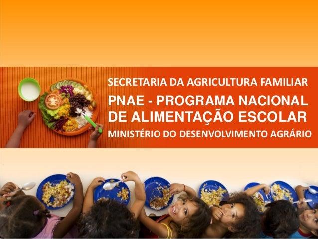 SECRETARIA DA AGRICULTURA FAMILIAR  PNAE -PROGRAMA NACIONAL  DE ALIMENTAÇÃO ESCOLAR  MINISTÉRIO DO DESENVOLVIMENTO AGRÁRIO