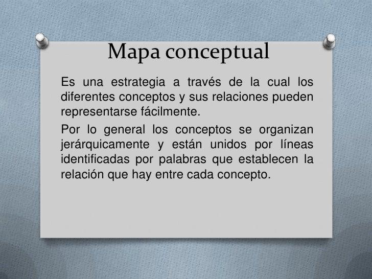 Mapa conceptual <br />Es una estrategia a través de la cual los diferentes conceptos y sus relaciones pueden representarse...