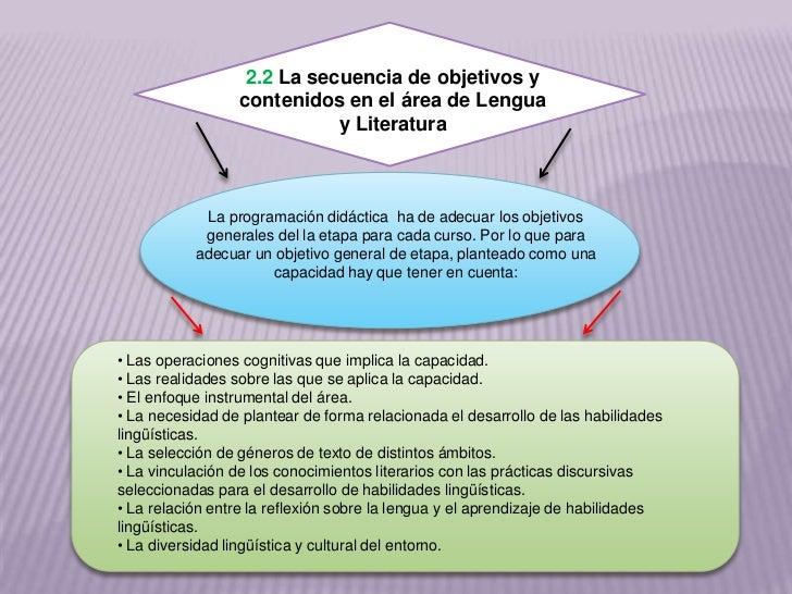 2.2 La secuencia de objetivos y                 contenidos en el área de Lengua                            y Literatura   ...