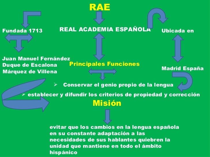 RAE REAL ACADEMIA ESPAÑOLA Fundada 1713 Juan Manuel Fernández Márquez de Villena Duque de Escalona Misión   evitar que los...