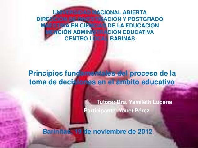 UNIVERSIDAD NACIONAL ABIERTA  DIRECCIÓN DE INVESTIGACIÓN Y POSTGRADO   MAESTRÍA EN CIENCIAS DE LA EDUCACIÓN     MENCIÓN AD...