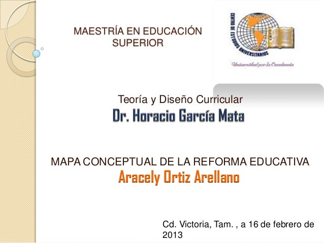 MAESTRÍA EN EDUCACIÓN         SUPERIOR          Teoría y Diseño CurricularMAPA CONCEPTUAL DE LA REFORMA EDUCATIVA         ...