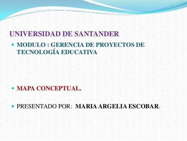 UNIVERSIDAD DE SANTANDER MODULO : GERENCIA DE PROYECTOS DETECNOLOGÍA EDUCATIVA MAPA CONCEPTUAL. PRESENTADO POR: MARIAAR...