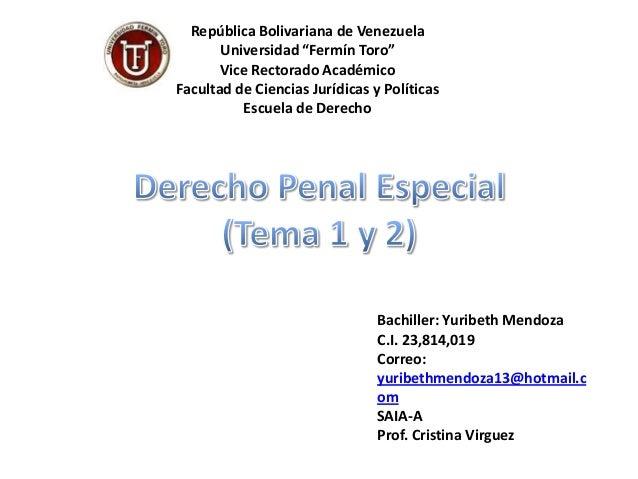 """República Bolivariana de Venezuela Universidad """"Fermín Toro"""" Vice Rectorado Académico Facultad de Ciencias Jurídicas y Pol..."""