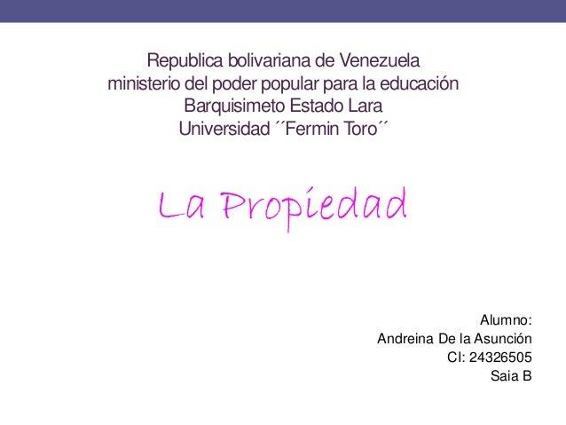 Republica bolivariana de Venezuela  ministerio del poder popular para la educación  Barquisimeto Estado Lara  Universidad ...