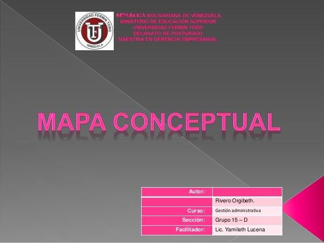 Autor: Rivero Orgibeth. Curso: Gestión administrativa Sección: Grupo 15 – D Facilitador: Lic. Yamileth Lucena
