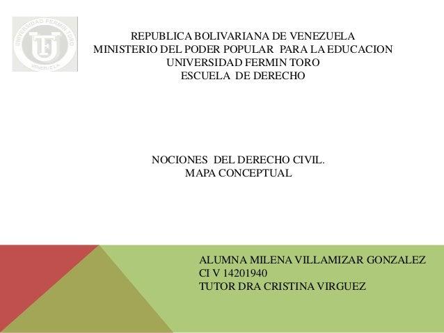 REPUBLICA BOLIVARIANA DE VENEZUELA MINISTERIO DEL PODER POPULAR PARA LA EDUCACION UNIVERSIDAD FERMIN TORO ESCUELA DE DEREC...
