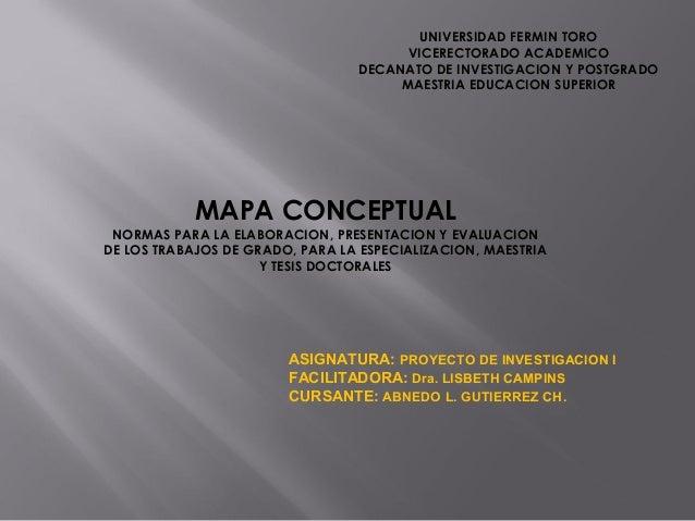 UNIVERSIDAD FERMIN TORO VICERECTORADO ACADEMICO DECANATO DE INVESTIGACION Y POSTGRADO MAESTRIA EDUCACION SUPERIOR  MAPA CO...