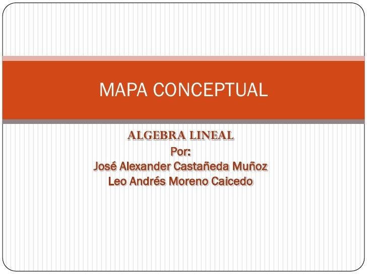 MAPA CONCEPTUAL     ALGEBRA LINEAL              Por:José Alexander Castañeda Muñoz   Leo Andrés Moreno Caicedo