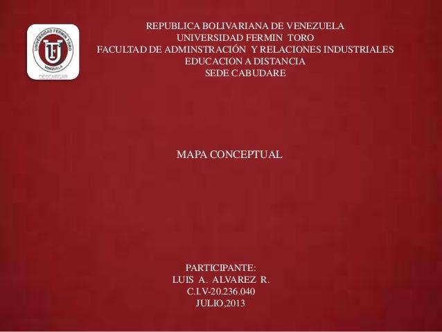 REPUBLICA BOLIVARIANA DE VENEZUELA UNIVERSIDAD FERMIN TORO FACULTAD DE ADMINSTRACIÓN Y RELACIONES INDUSTRIALES EDUCACION A...